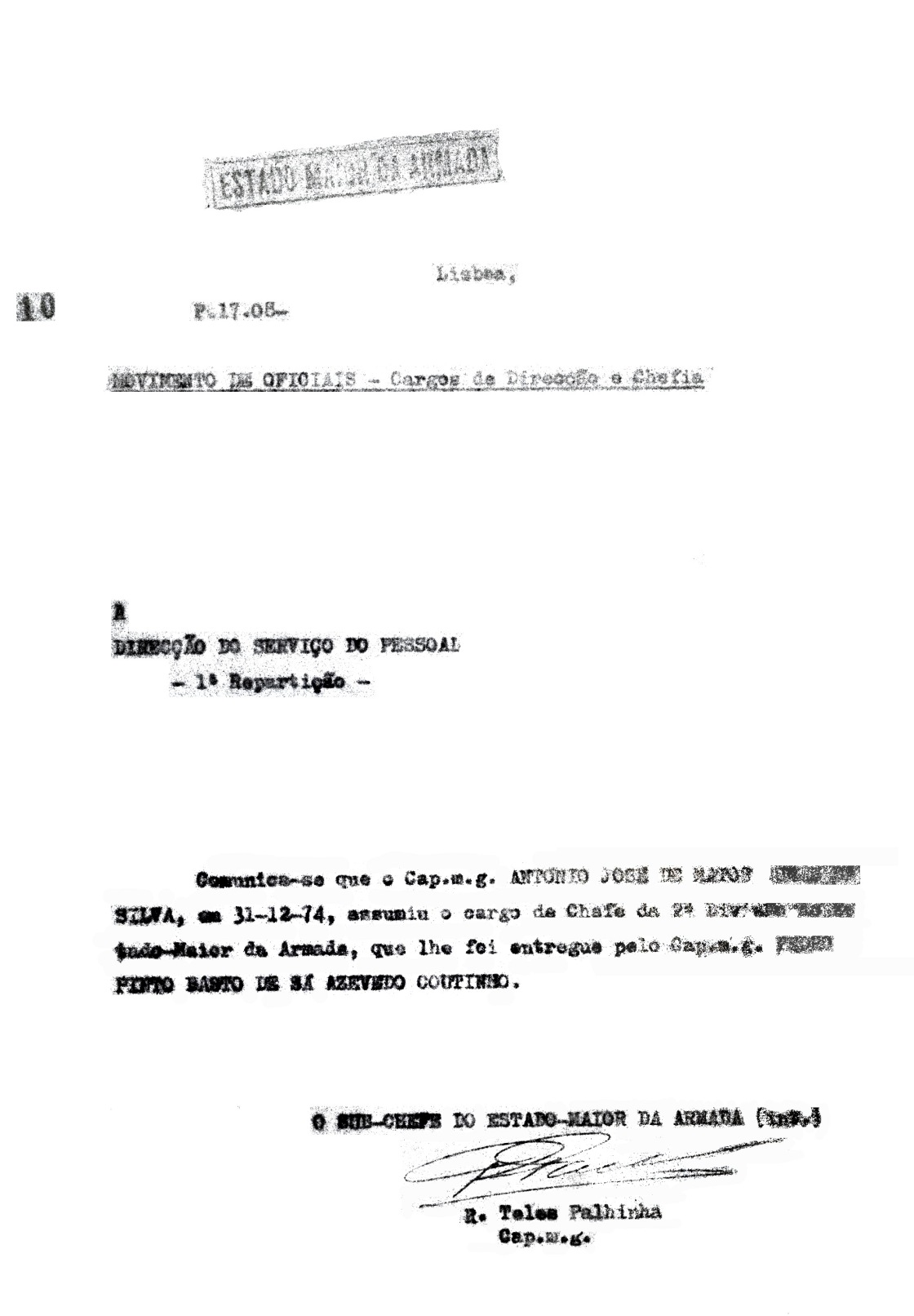 00667 974-12-31 assumi cargo de Chefe da II Divisão do EMA -Nota 10 Procº 17.08 de 1975 do EMA