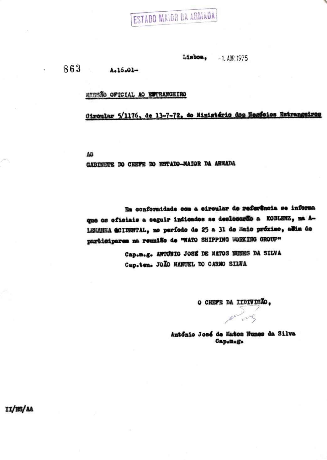 00673 975-04-01 Informação ao Min Negócios Estrangeiros dos oficiais datas e local do NSWG