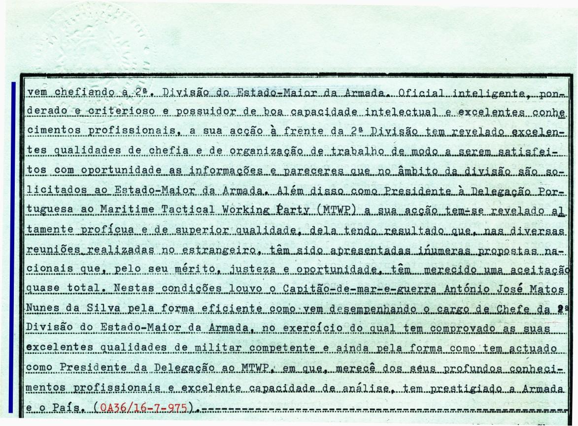 00684 975-07-16 resto da transcrição do Louvor que me concedeu o VCEMA Alm Marques Abrantes  -Nota de Assentamentos