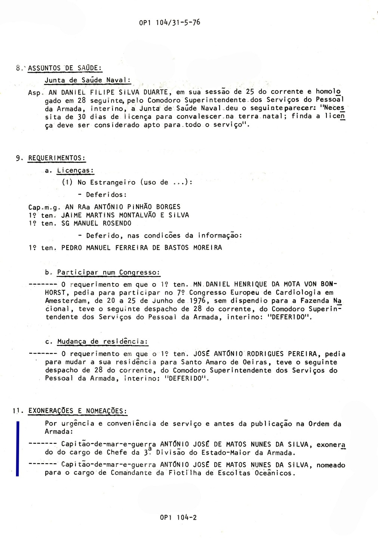 00702 976-05-31 exonerado de Chefe da III Divisão do EMA e nomeado Comandante da Flotilha de Escoltas Oceânicos -OP1 104 de 31-5