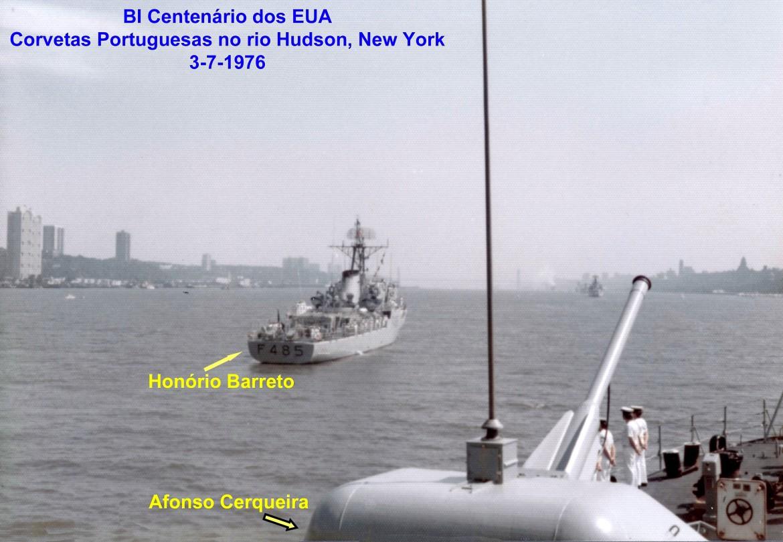 00718 976-07-03 Bi Centenário dos EUA - Corvetas PO no rio Hudson New York