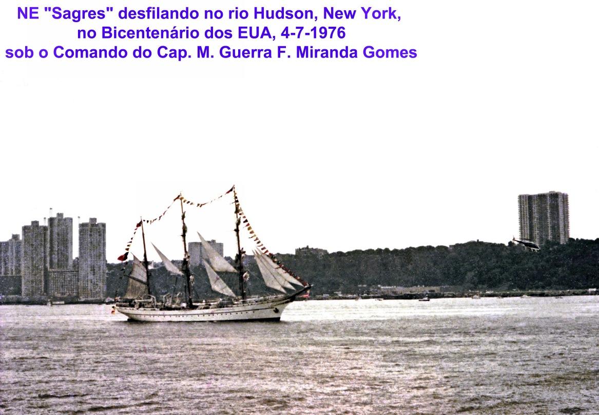 00721 976-07-04 Sagres desfilando no Hudson New York no Bicentenário dos EUA sob Comando do CMG F Miranda Gomes