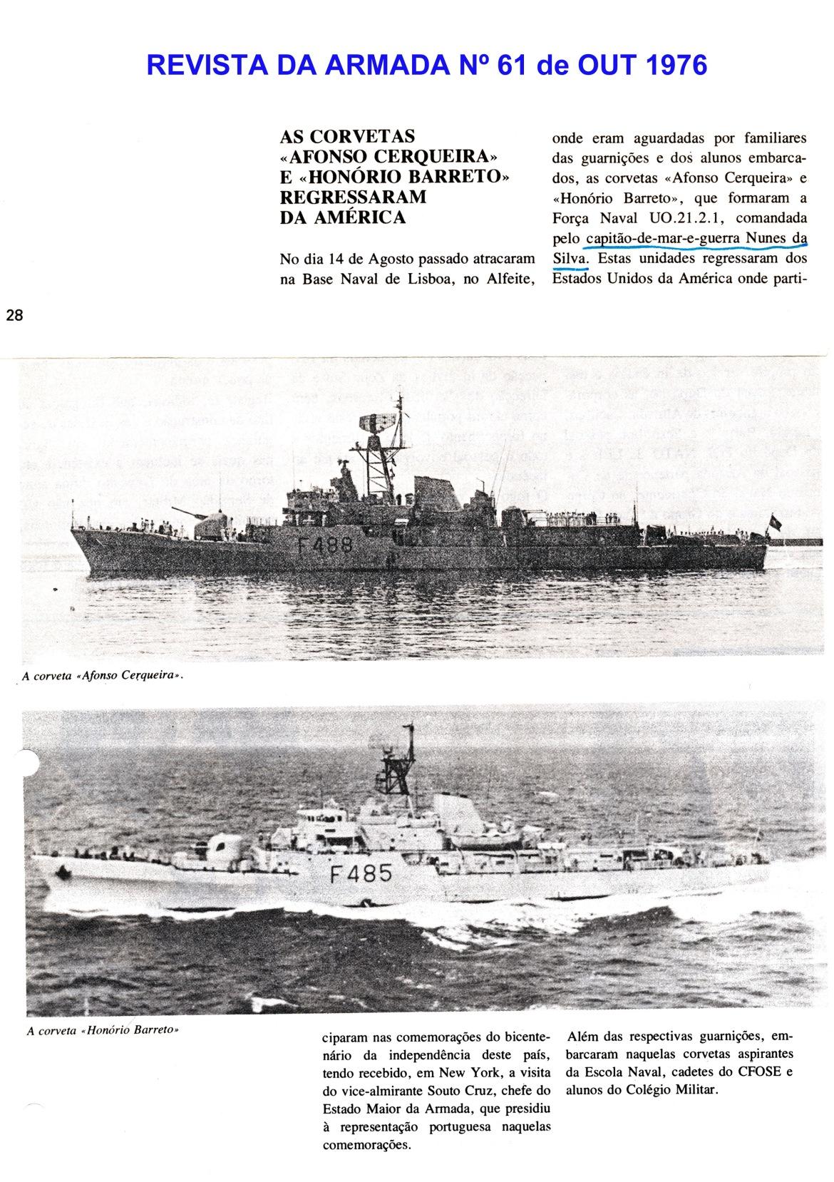 00766 976-10-01 Notícia da missão das corvetas -Revista da Armada 61 de Out 1976