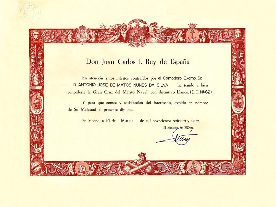 00808a 977-03-14 condecoração Gran Cruz del Mérito Naval