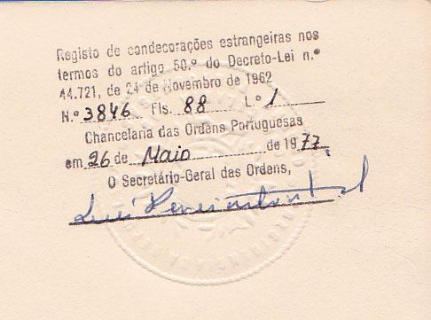 00809a 977-05-26 registo da Gran Cruz del Mérito Naval na Chancelaria das Ordens Portuguesas