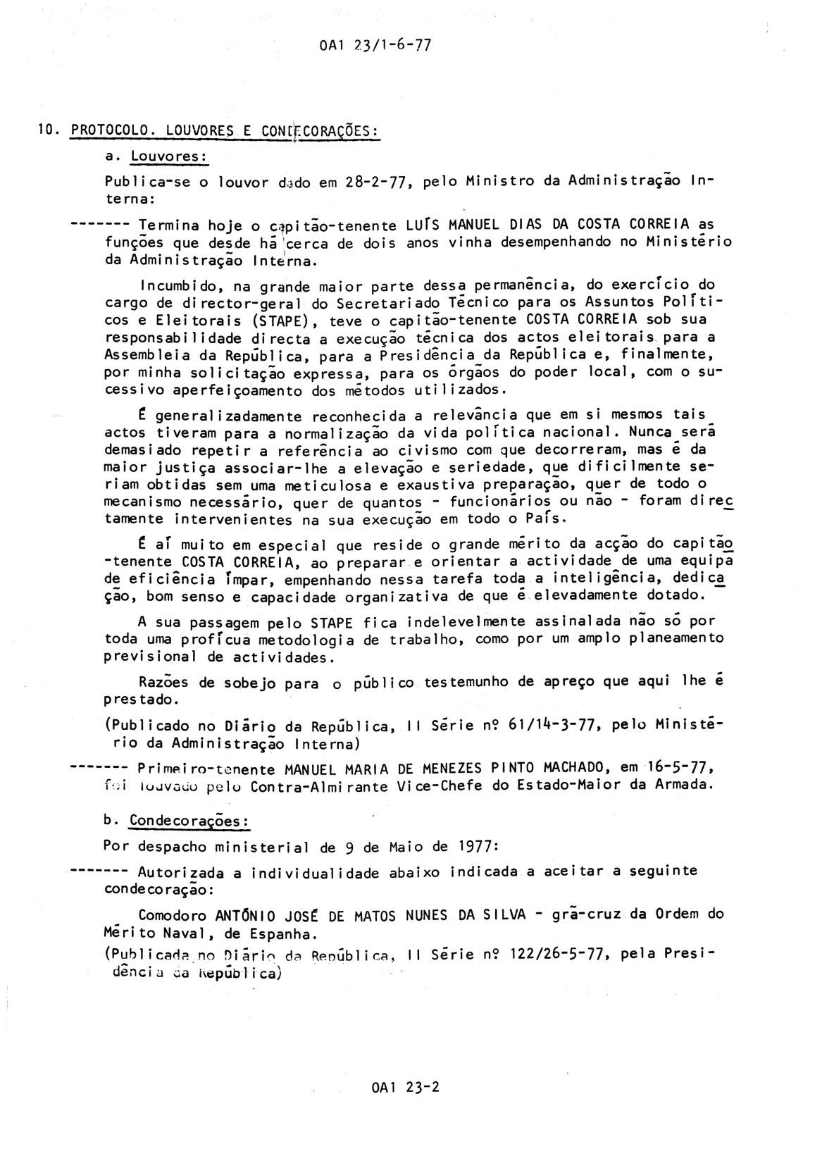 00810 977-05-09 autorizado aceitar a condecoração espanhola por Desp ministerial de 9-5-77 publicado no DR_20101113235512431