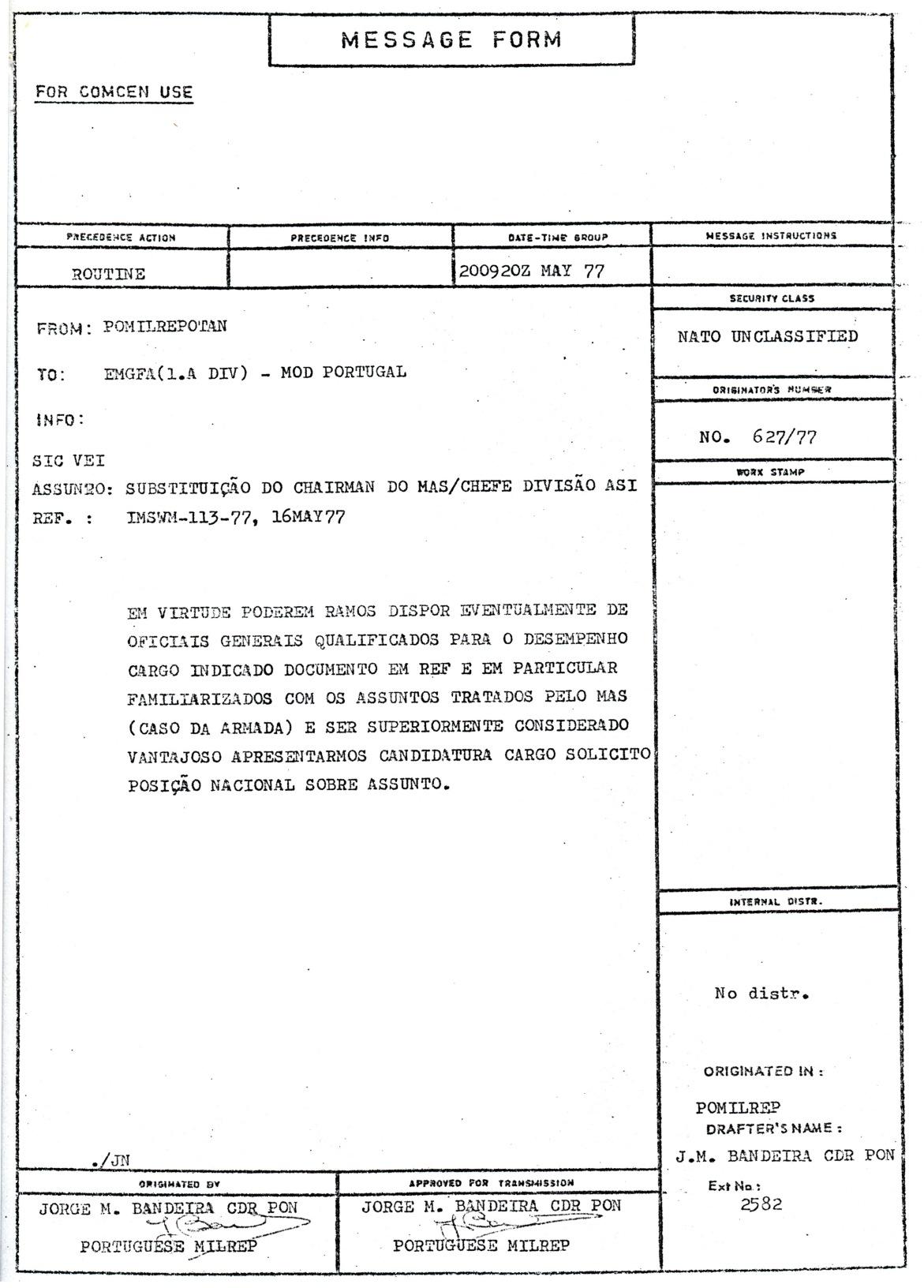 00813 977-05-20 Cargo na NATO - informação da Repres Militar Portug na NATO sobre eventual candidatura a alto cargo