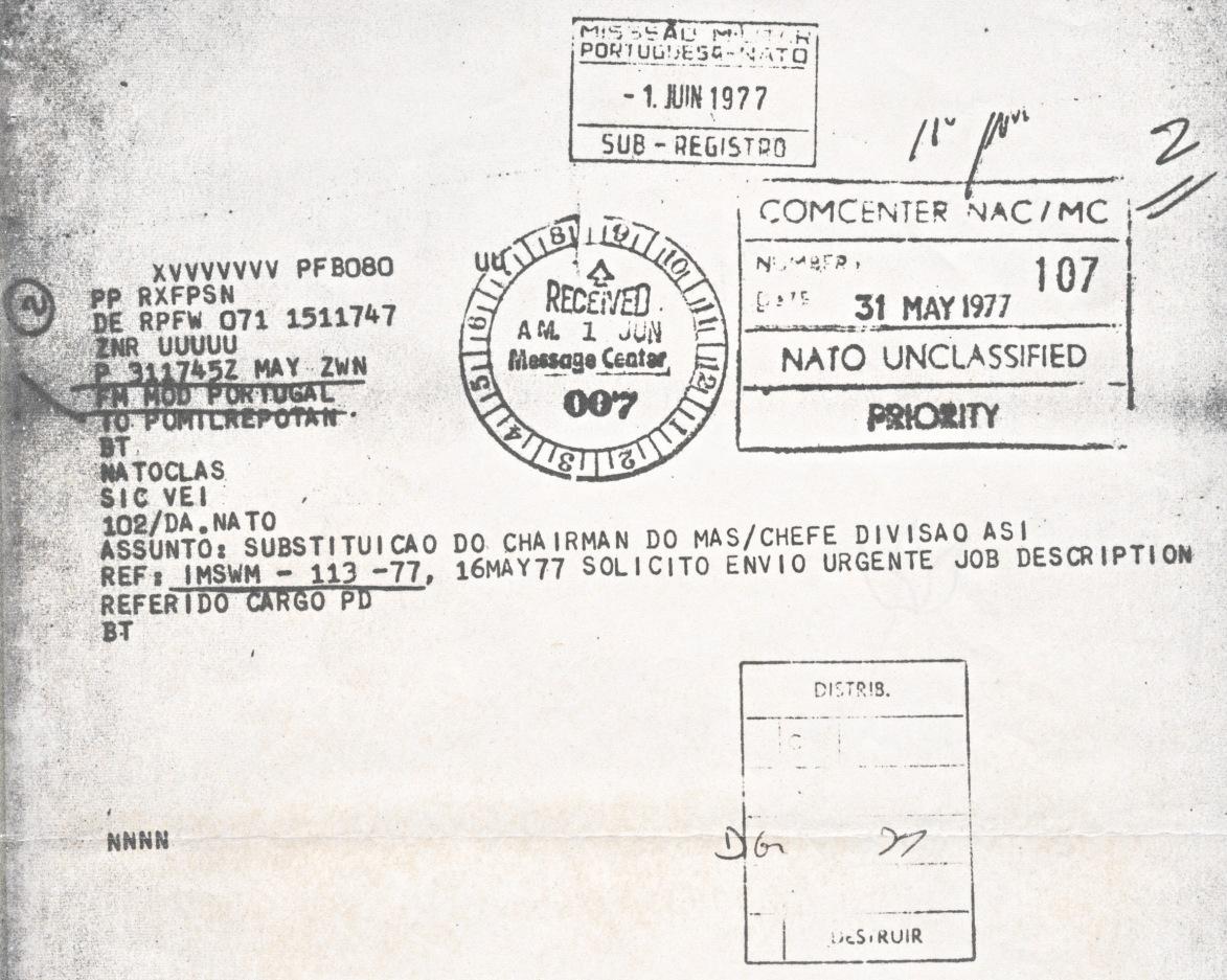 00815 977-05-31 Cargo na NATO - Min Defesa solicita à Repres Militar Portug na NATO inform sobre funções