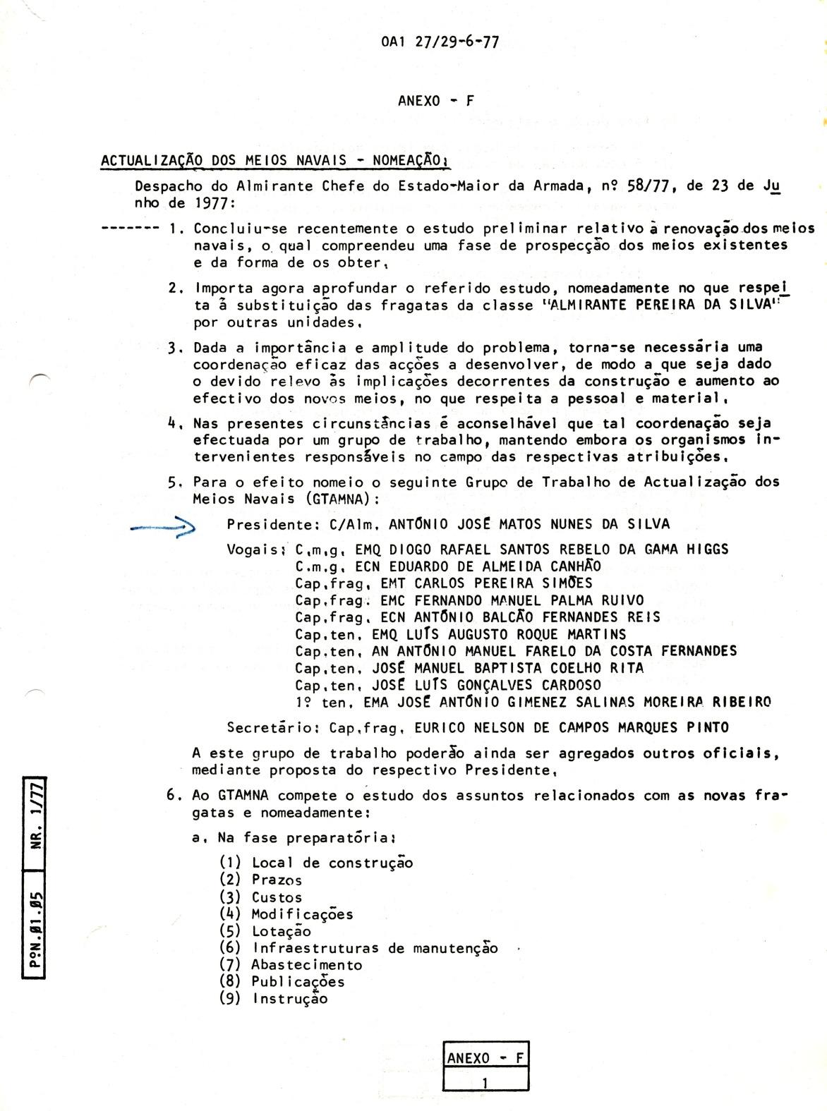 00821 977-06-23 Nomeação sob minha Presidência dum Grupo de Trabalho de Actualização dos Meios Navais  -OA1 27 de 29-6 Anexo F pg 1