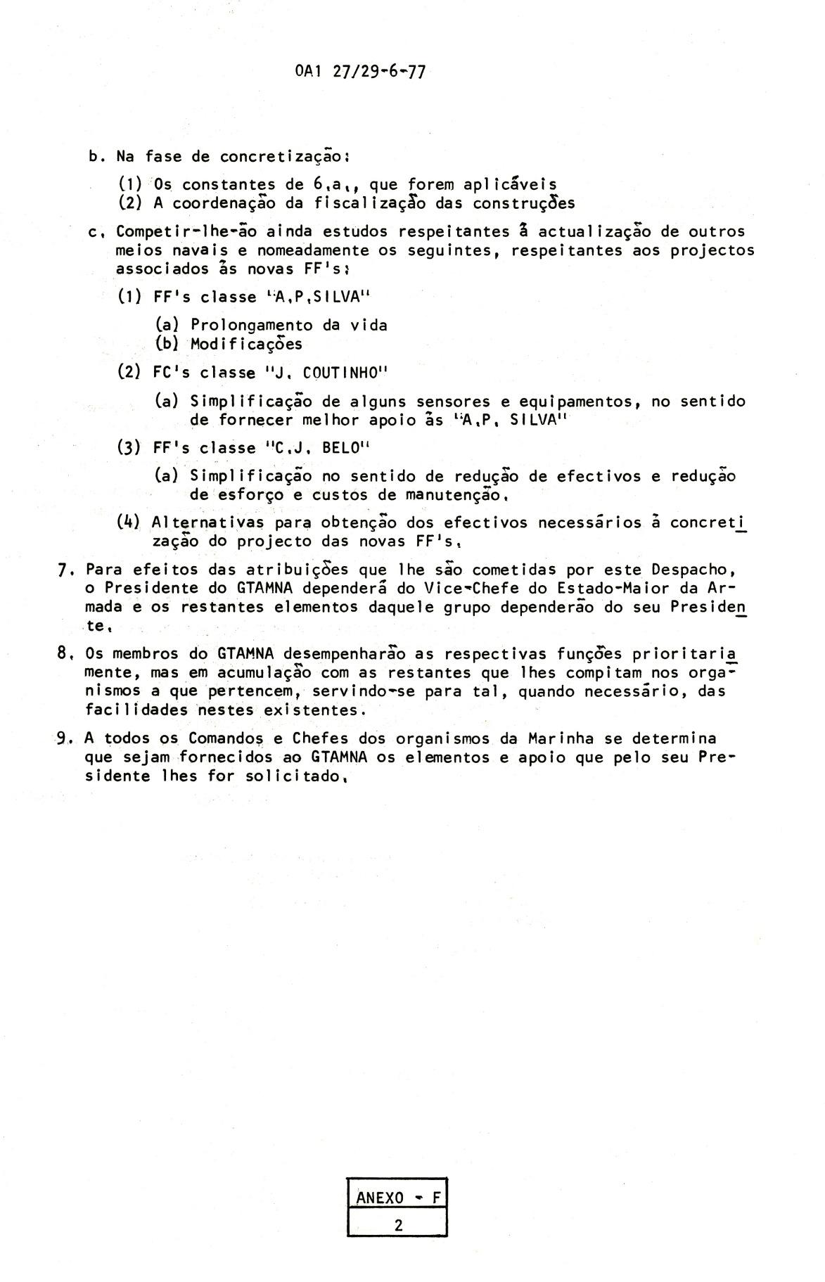 00822 977-06-23 Nomeação sob minha Presidência dum Grupo de Trabalho de Actualização dos Meios Navais -OA1 27 de 29-6 Anexo F pg 2