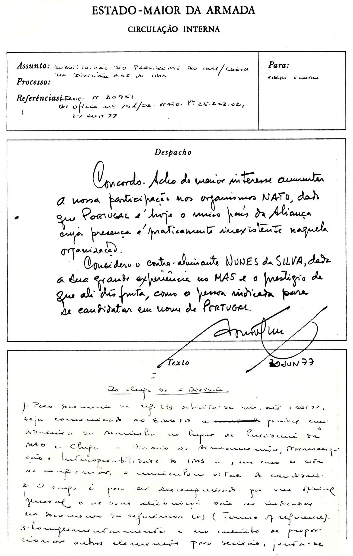 00823 977-06-30 Cargo na NATO - Alm CEMA concorda com a candidatura do Contra-Almirante Nunes da Silva