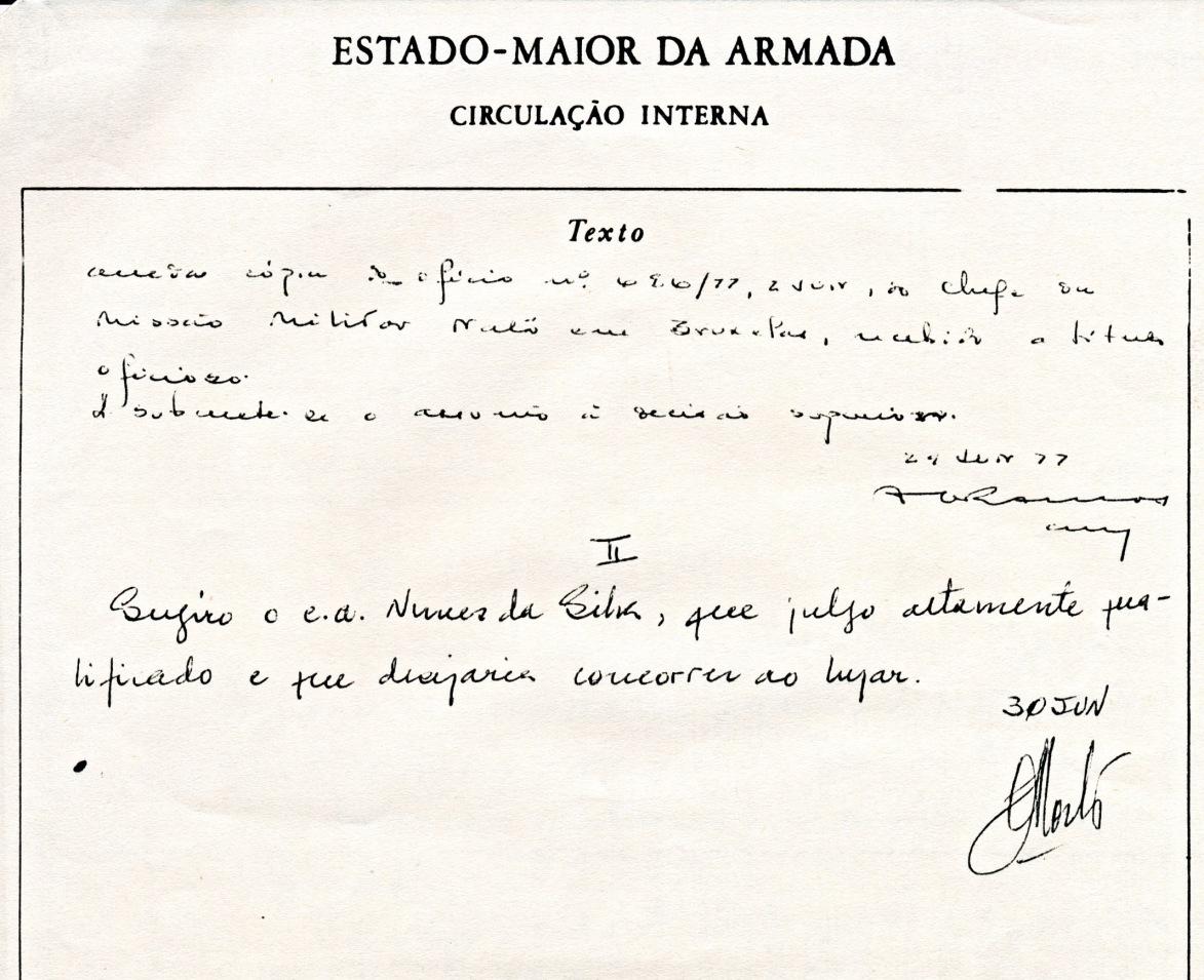 00824  Alm CEMA concorda com a candidatura do Contra-Almirante Nunes da Silva aos cargos de Presidente do MAS e de Chefe IMS