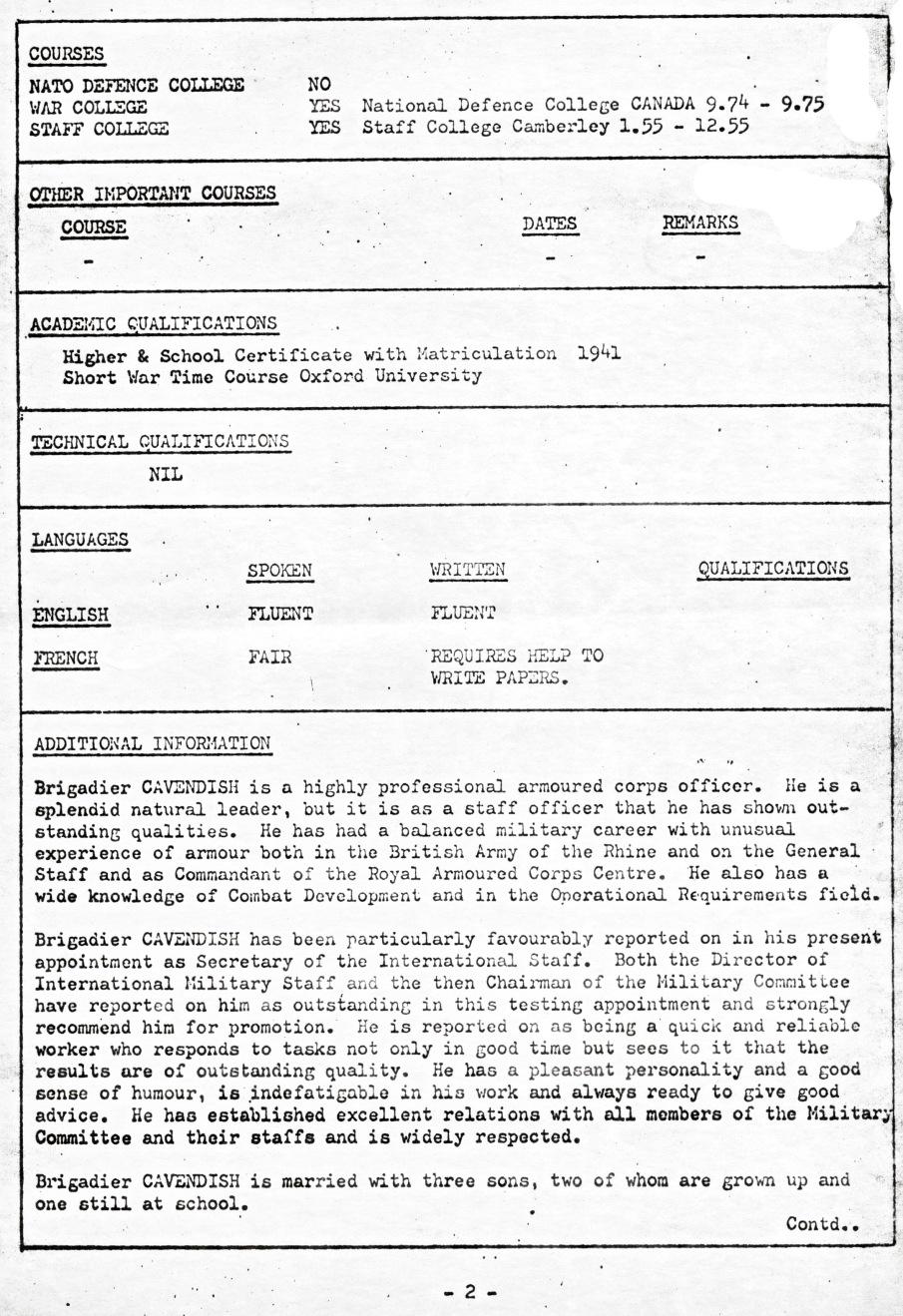 00830 977-07-12 Cargo na NATO - MOD UK comunica candidatura e currículo Brigadier P B Cavendish aos cargos NATO -pg 3