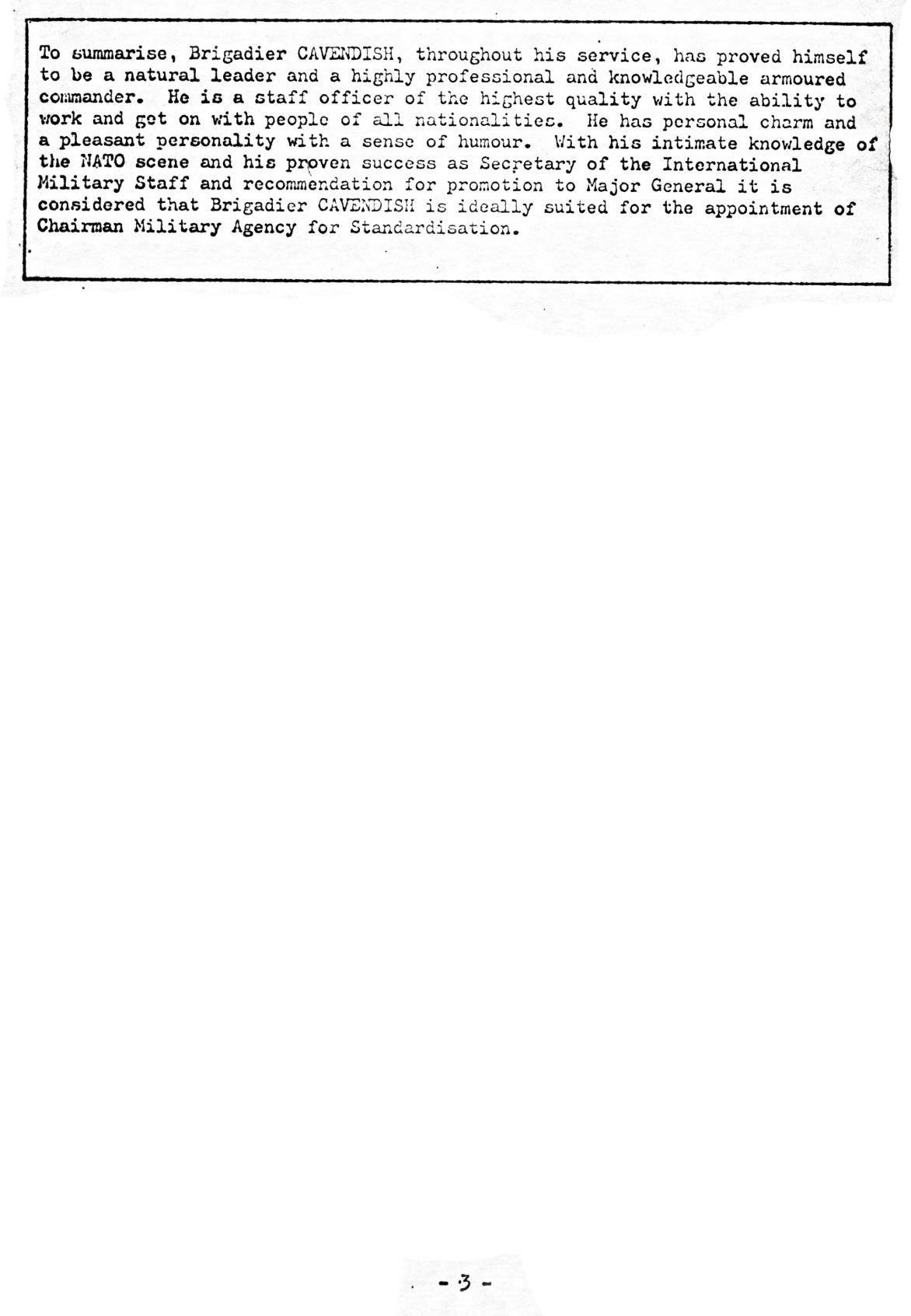 00831 977-07-12 Cargo na NATO - MOD UK comunica candidatura e currículo Brigadier P B Cavendish aos cargos NATO -pg 4