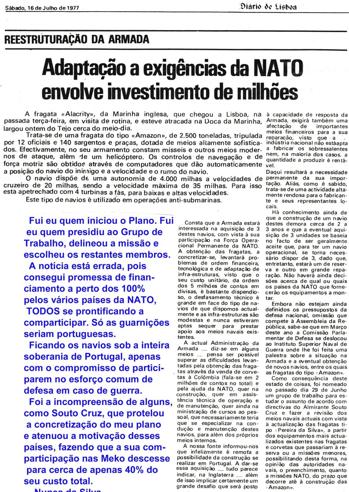 00832 977-07-16 Notícia do Diário de Lisboa sobre a restruturação dos navios da Armada parte 1 de 3