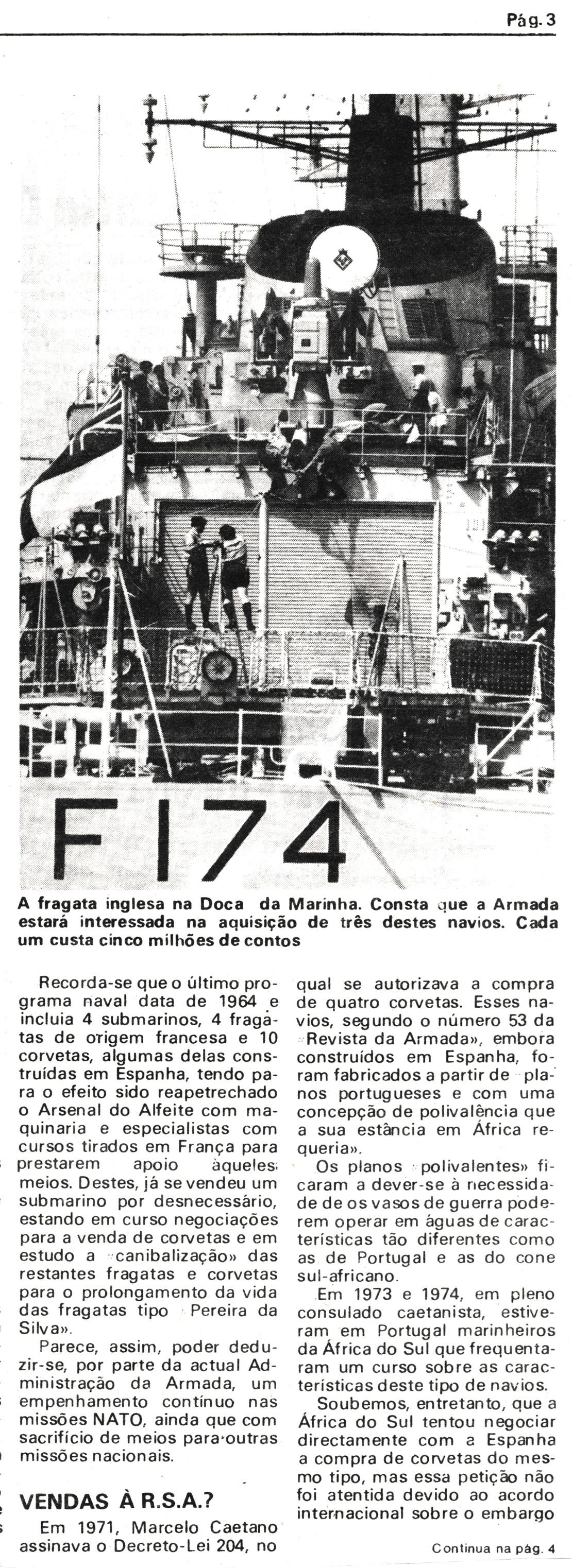 00833 977-07-16 Notícia do Diário de Lisboa sobre a restruturação dos navios da Armada parte 2 de 3