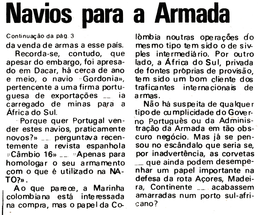 00834 977-07-16 Notícia do Diário de Lisboa sobre a restruturação dos navios da Armada parte 3 de 3