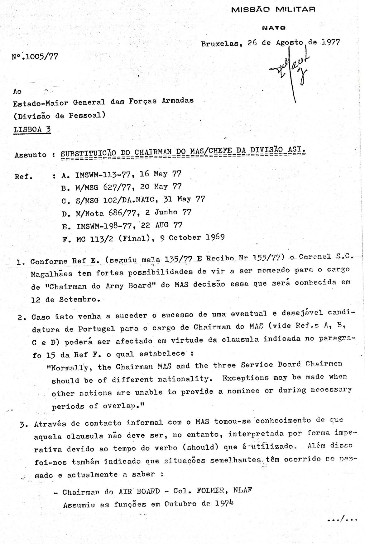 00836 977-08-26 Cargo na NATO - MILREP PO solicita informação se Portugal apresenta candidatura pg 1