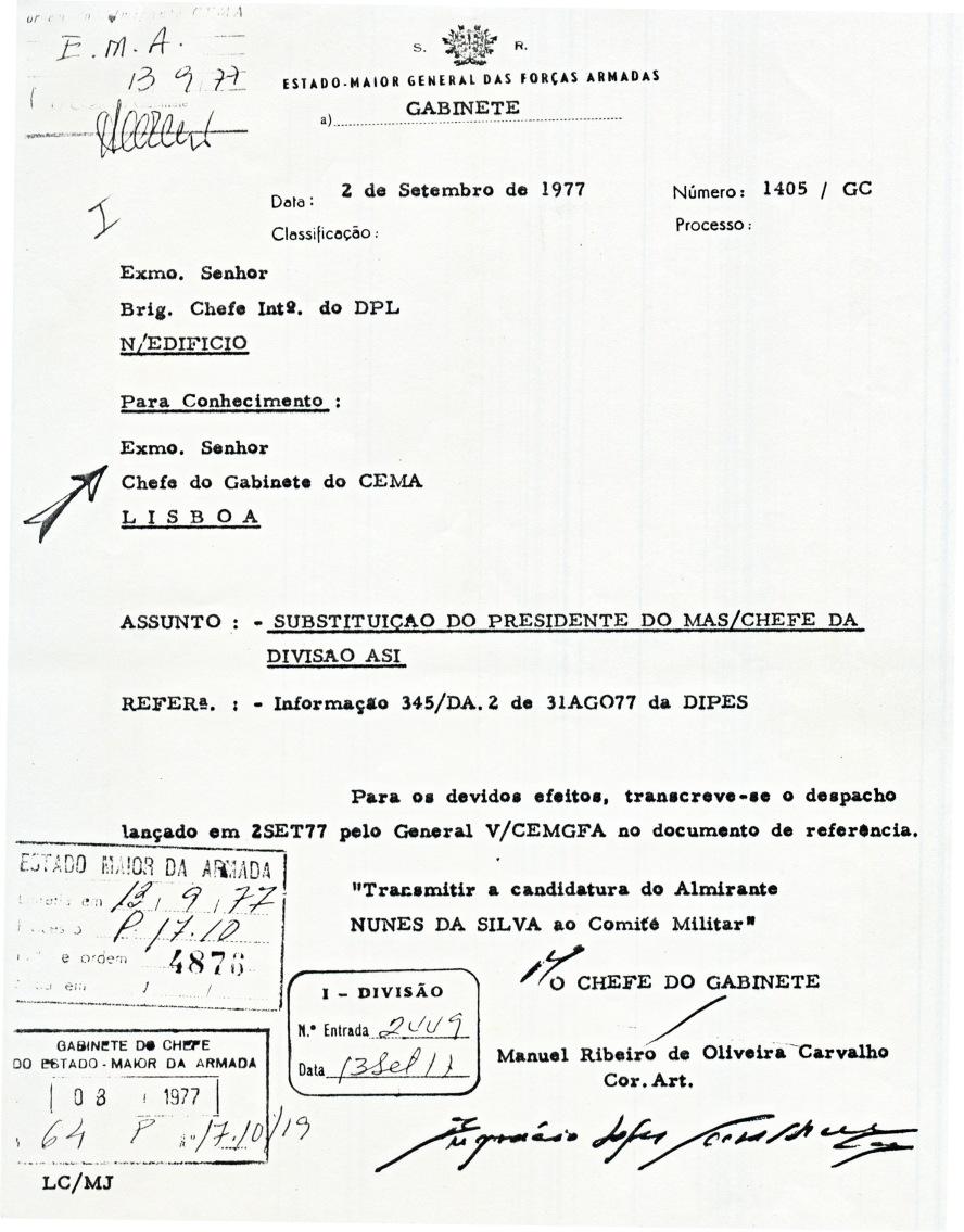00838 977-09-02 Cargo na NATO - VCEMGFA endossa apresentação candidatura do CAlm Nunes da Silva