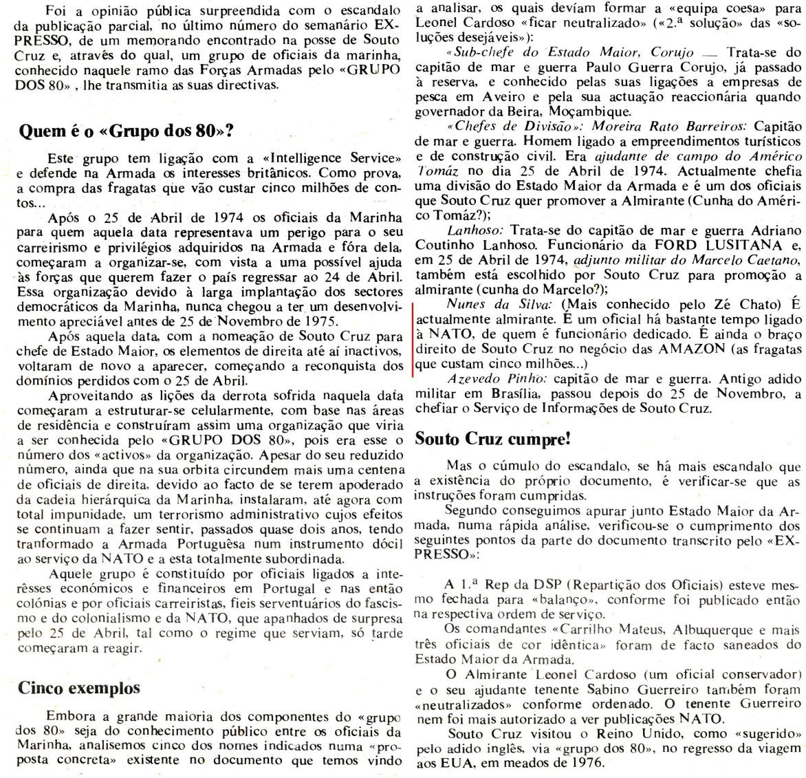 00851 977-09-18 artigo do jornal Página Um sobre um Grupo dos 80 a que sou alheio mas em que sou erradamente comentado -parte 2