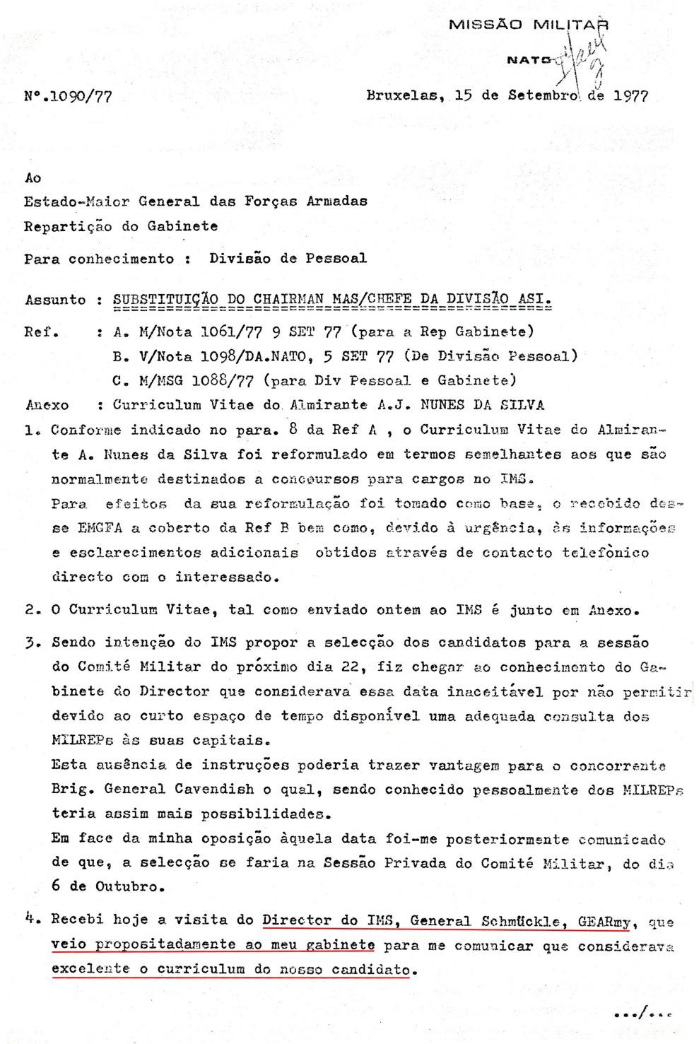 00863 977-09-15 CARGO na NATO - considerações de MILREP PO quanto à candidatura do Alm Nunes da Silva -pg 1