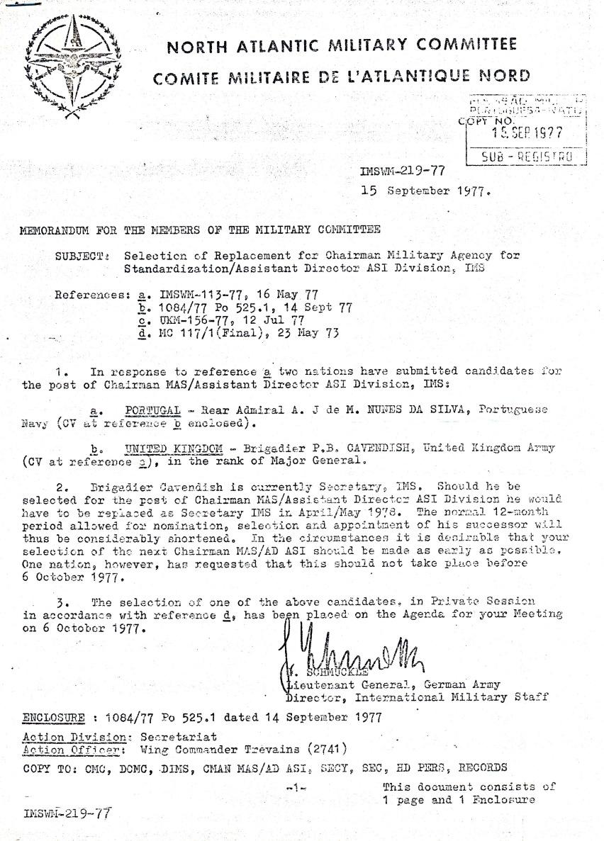 00866 977-09-15 CARGO na NATO - IMS apresenta candidaturas do Alm Nunes da Silva e do Brig UK Cavendish