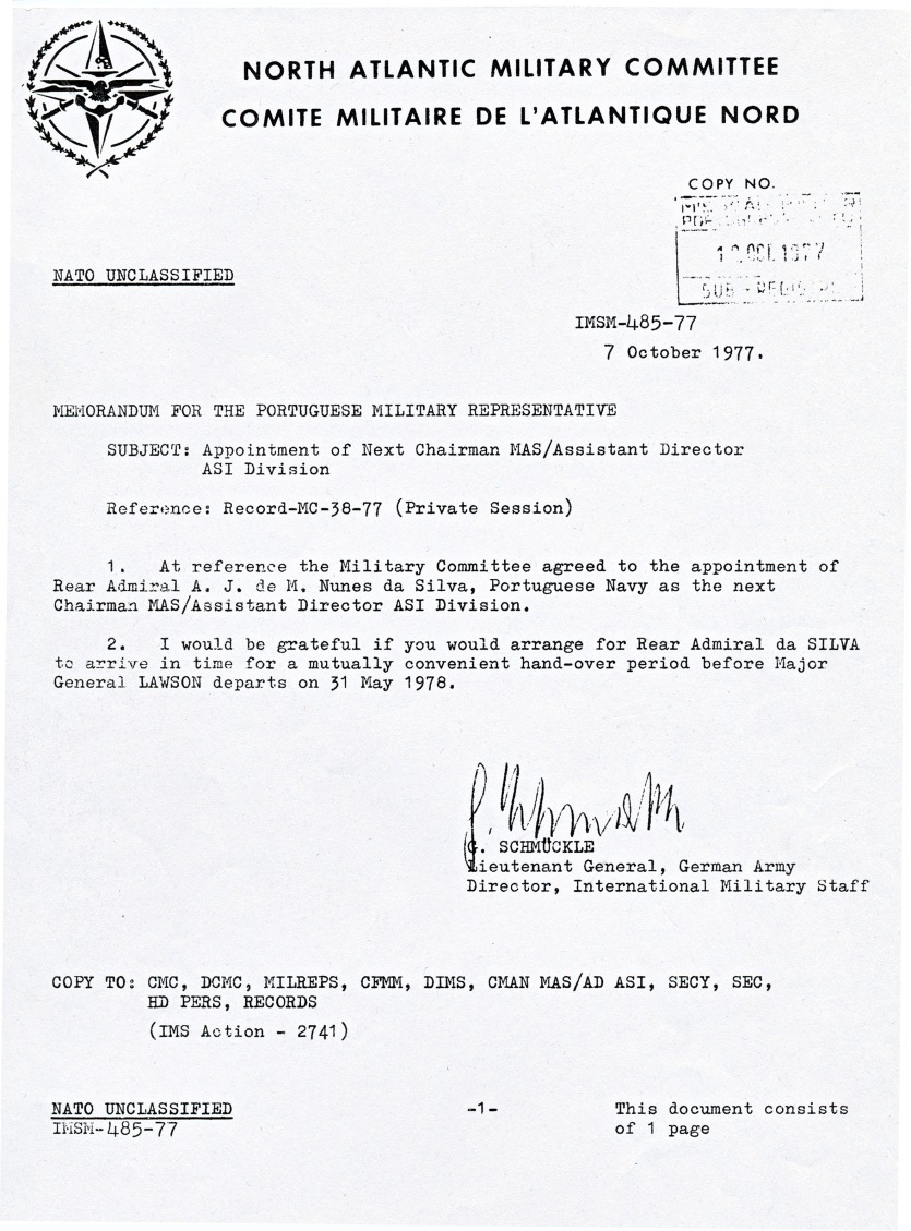 00867 977-10-07 CARGO na NATO - Director do IMS comunica que Comité Militar ESCOLHEU o Alm NUNES DA SILVA