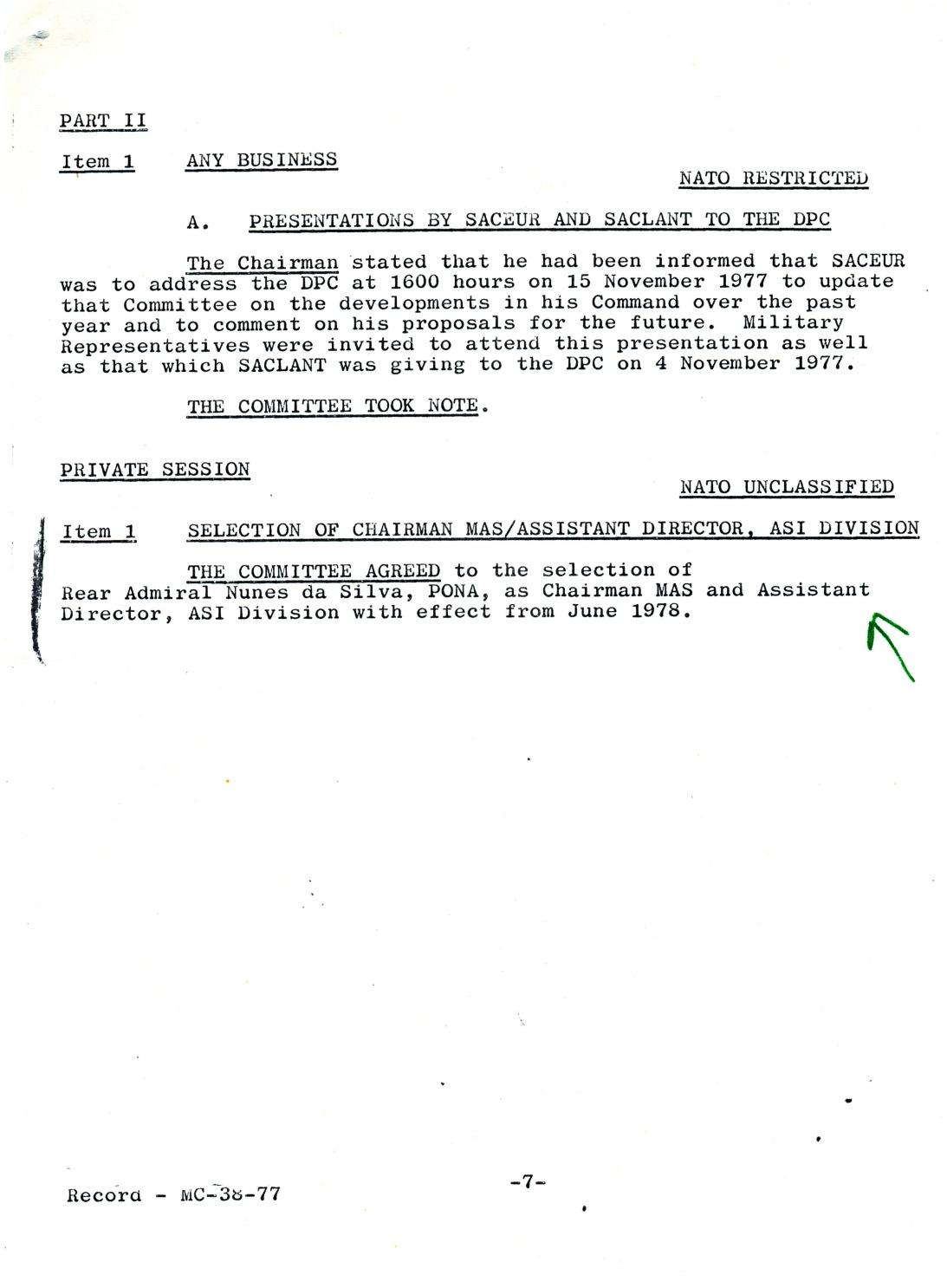 00869 977-10-18 CARGO na NATO - IMS envia resumo da reunião do Comité Militar que ESCOLHEU o Alm NUNES DA SILVA - pg 2