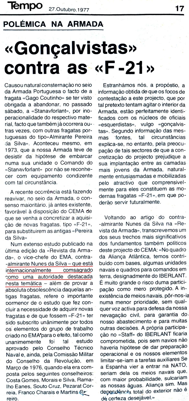 00871 977-10-27 excelente artigo do semanário TEMPO sobre o meu artigo na RA quanto às novas fragatas