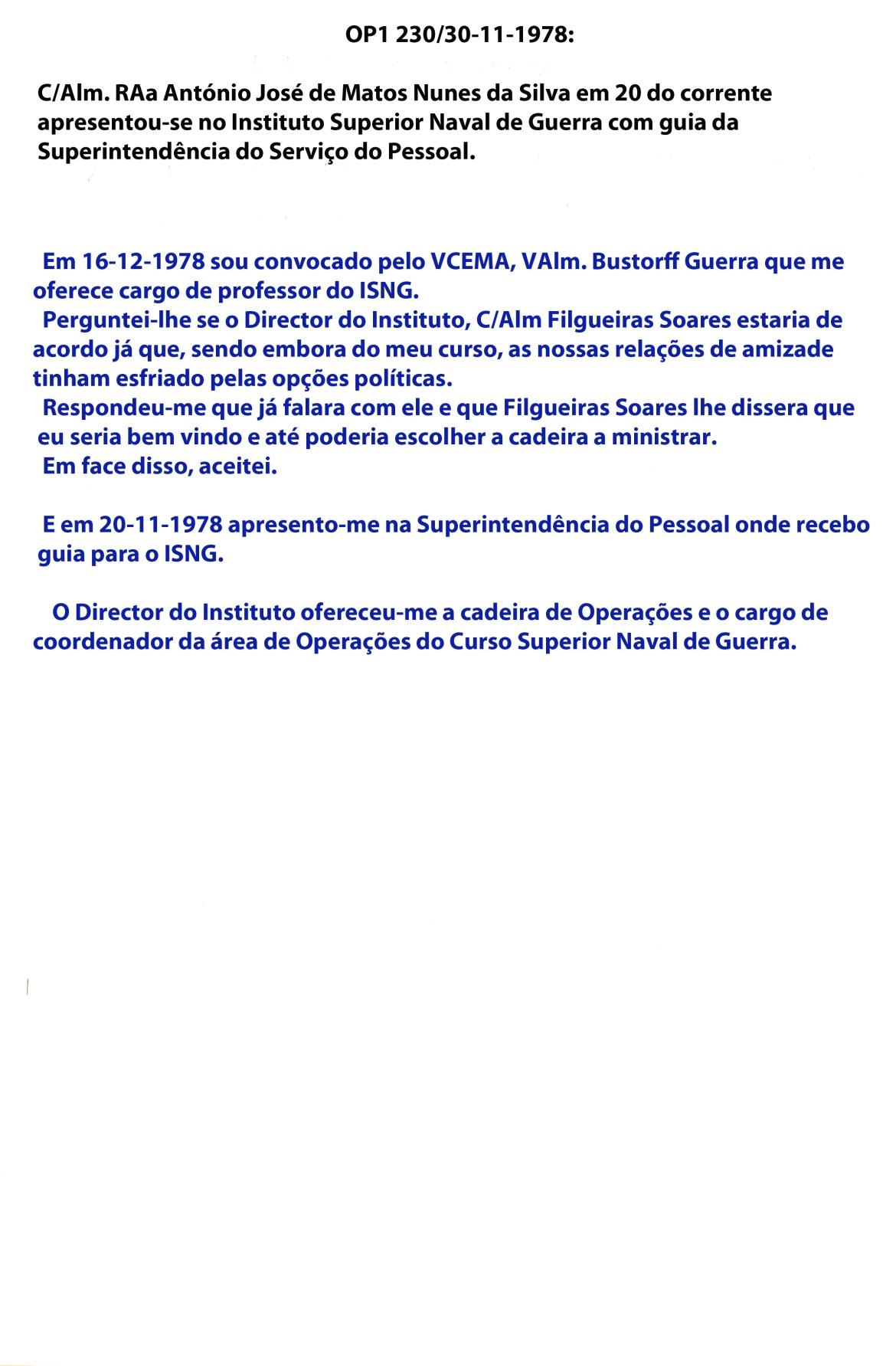 00885 978-11-20 assumi cargo de professor e Coordenador da Área de Operações do Curso Superior do ISNG -transcrição da OP1 230