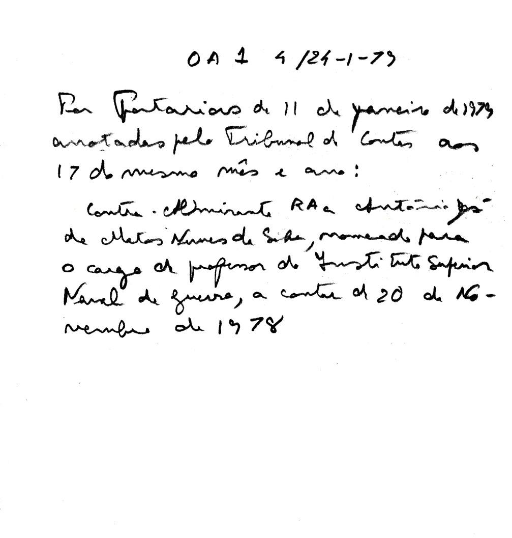 00886 979-01-11 Extracto da Portaria nomeando para cargo de Professor do ISNG partir 20-11-78 -OA1 4 de 24-1-79