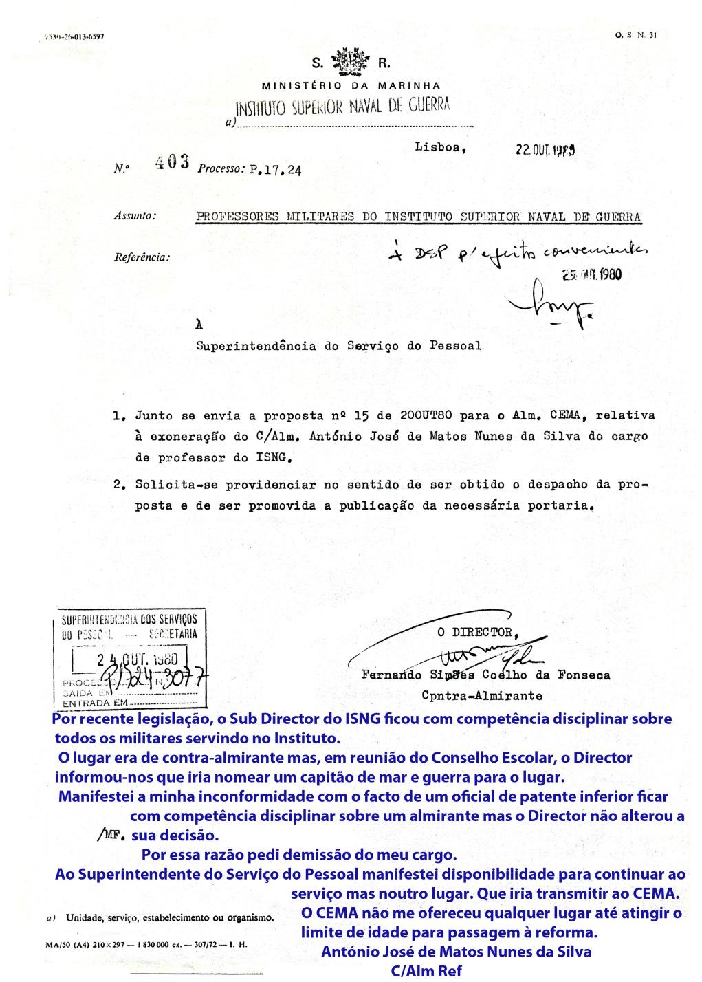 00890 980-10-22 Director envia proposta da minha exoneração de professor do ISNG e nesta cópia escrevi minha anotação explicativa