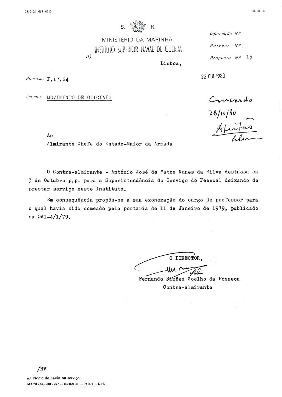 00891 980-10-22 a proposta de exoneração com o despacho de concordância do CEMA