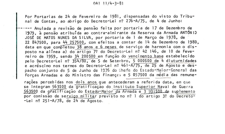 00893 981-02-24 revista a pensão por Portaria desta data por contar então mais de 38 anos de serviço OA1 11 de 4-3-1981