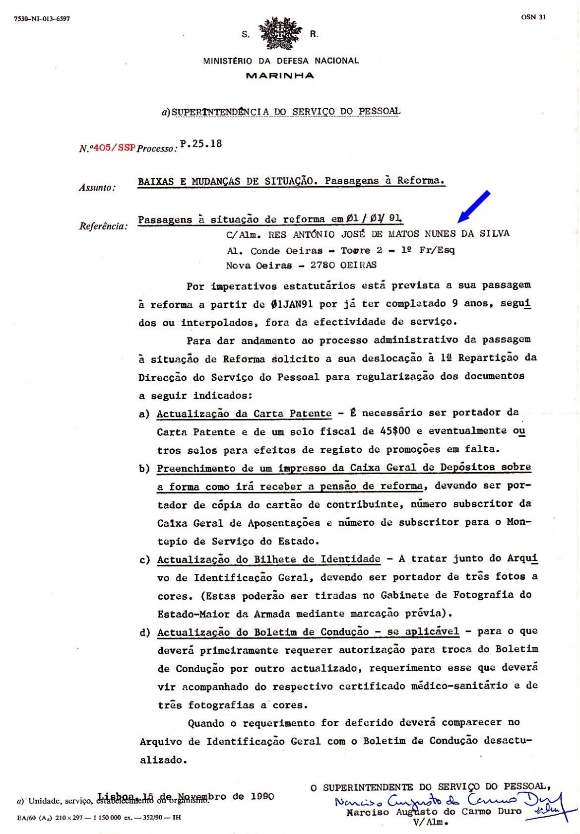 00893a 990-11-15 alteração de documentos na passagem à reforma -Nota 405 da SSP