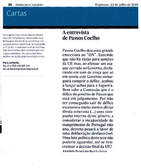 16-07-23 A entrevista de Passos Coelho ao DN, sanções por défice, no Expresso papel