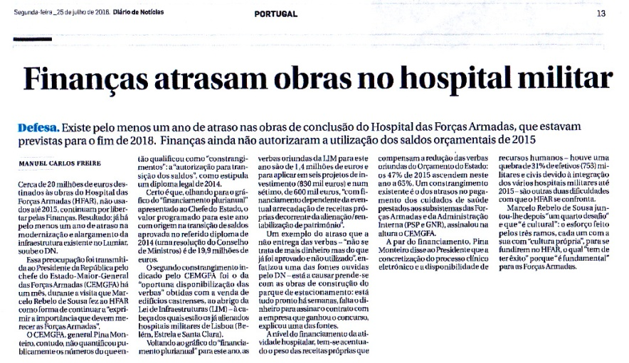 16-07-25 Atraso nas obras do Hospital Militar -DN