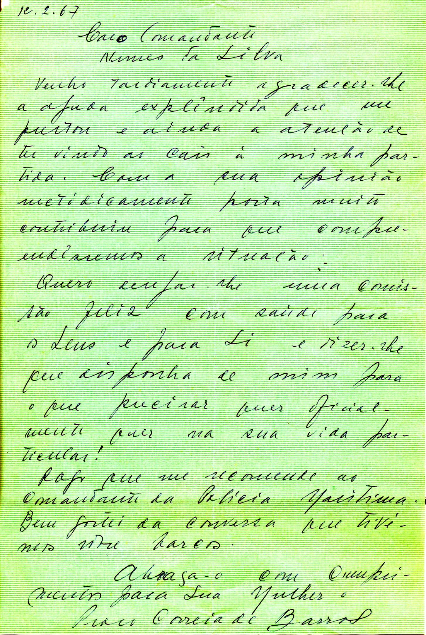 005 67-02-12 carta de Correia de Barros agradecendo minha intervenção decisiva para a resolução dos acontecimentos de 66-67