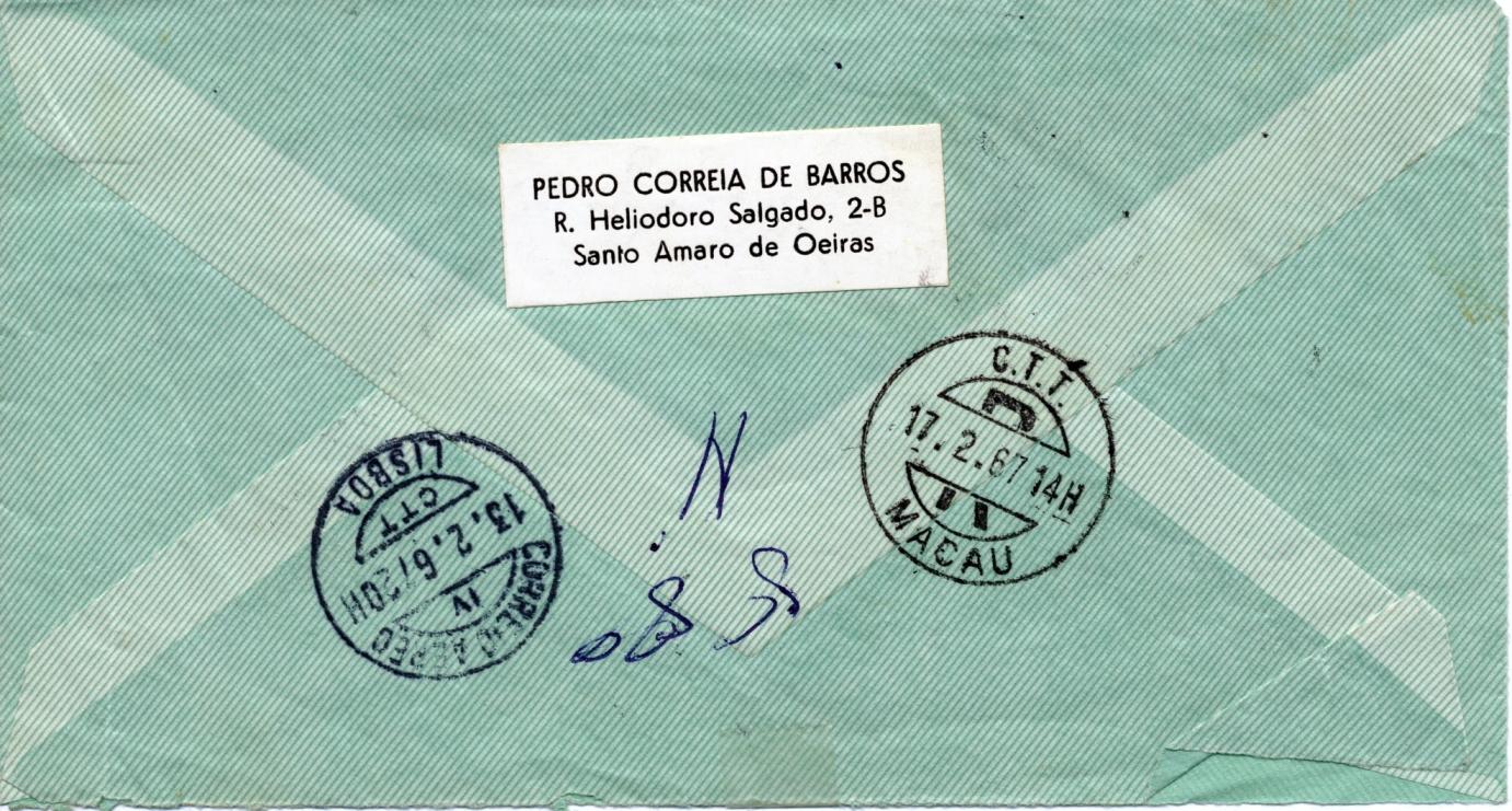 008 67-02-13 envelope da carta de C de Barros de 12-2-67 verso