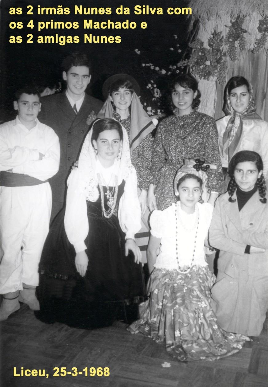 043 68-03-25 liceu, as manas Nunes da Siva com os 4 manos primos Machado e as manas amigas Nunes