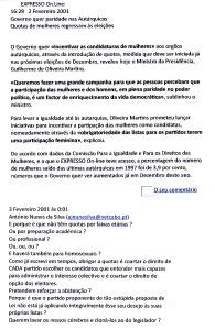 0488 pretensão de paridade de géneros, Expr onl, 2-2-2001
