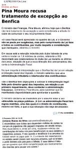 0494 dívidas do Benfica ao fisco, Expr onl, 6-2-2001