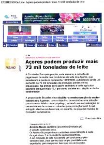 0495 quota de leite dos Açores, Expr onl, 7-2-2001