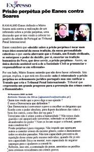 0499 prisão perpétua põe Eanes contra Soares, Expr onl, 10-2-2001