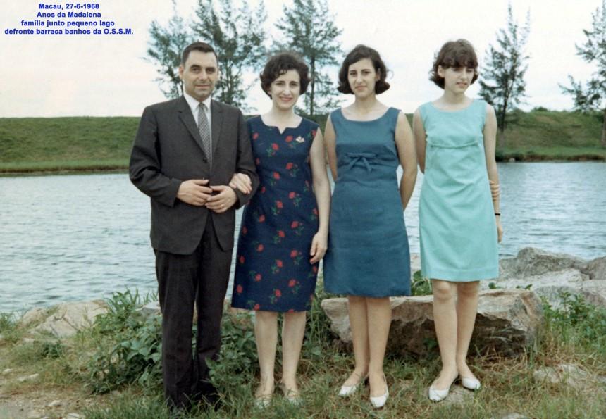 140 68-06-27 família N Silva junto pequeno lago defronte barraca banhos O S S M