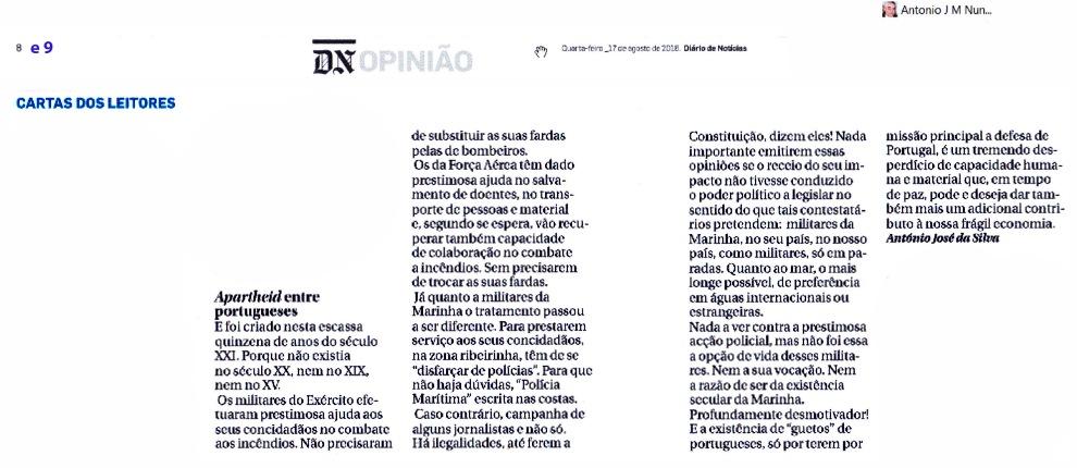 16-08-17 Apartheid entre portugueses no século XXI, no DN papel