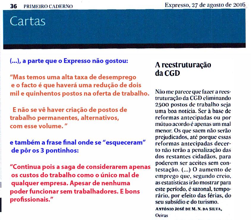 16-08-27 A reestruturação da CGD, no Expresso papel