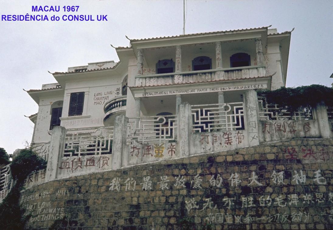 199 67 Macau-residência do consul UK com inscrições de protesto
