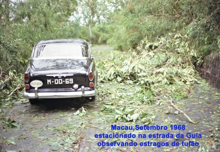 257 68-09 estacionado na estrada da colina da Guia em observação de estragos do tufão